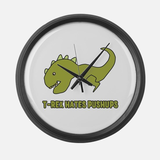 T-Rex Hates Pushups Large Wall Clock