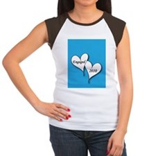 artsyHeartsBlueEngaged2 Women's Cap Sleeve T-Shirt