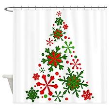 Snowflake Christmas Tree Shower Curtain