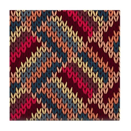 Knit Zig Zag Pattern : ZIg Zag Knitted Pattern Tile Coaster by listing-store-112282429