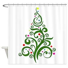 Modern Christmas Tree Shower Curtain
