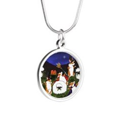 sheep spooks Silver Round Necklace