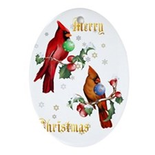 Two Christmas Birds Lettered Trans Oval Ornament