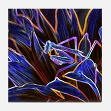Preying Mantis in Sunflower Glowing E Tile Coaster