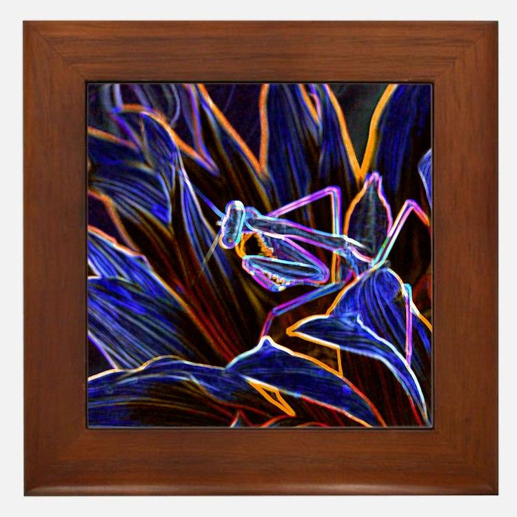Preying Mantis in Sunflower Glowing Ed Framed Tile
