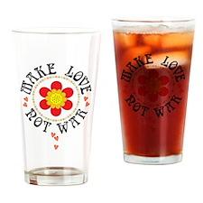 Retro Make Love Not War Drinking Glass