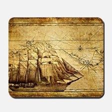 Vintage Map with Ship Mousepad