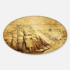 Vintage Map with Ship Decal