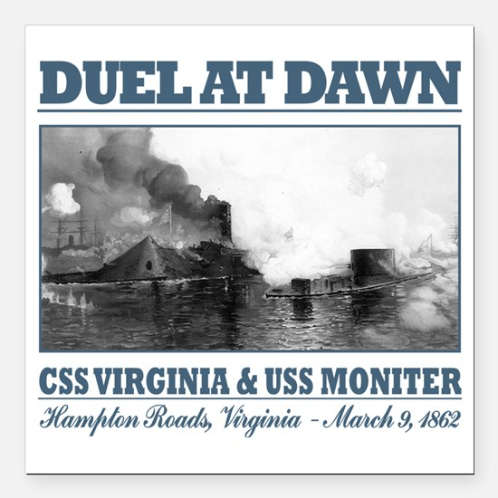 "CSS Virginia vs USS Moni Square Car Magnet 3"" x 3"""