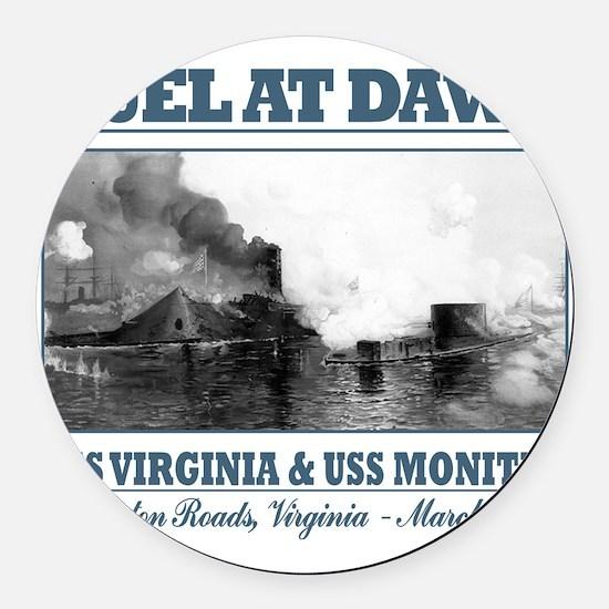 CSS Virginia vs USS Moniter 2 Round Car Magnet