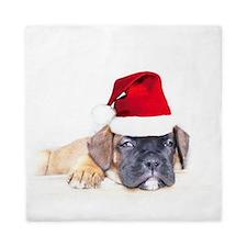 Christmas boxer puppy Queen Duvet