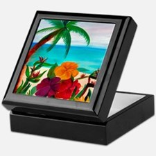 TROPICAL BEACH THROW BLANKET Keepsake Box