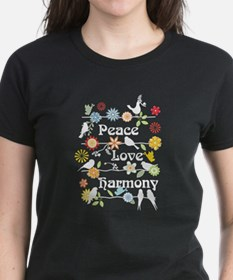 Peace Love Harmony, On Black T-Shirt