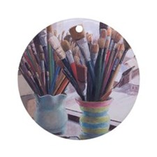 Paint Brushes 1 Round Ornament