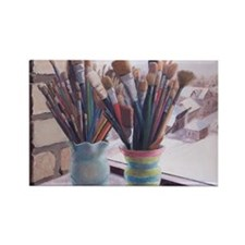 Paint Brushes 1 Rectangle Magnet