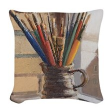 Paint Brushes 2 Woven Throw Pillow