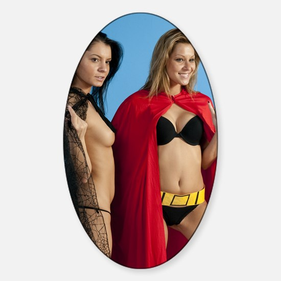 pornstars Lucy Bell and Cindy Hope Sticker (Oval)