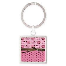 Cute Pink Ladybugs Square Keychain