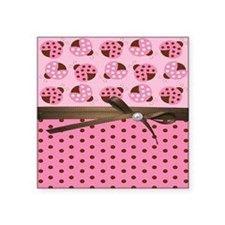 "Cute Pink Ladybugs Square Sticker 3"" x 3"""