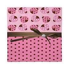 Cute Pink Ladybugs Queen Duvet