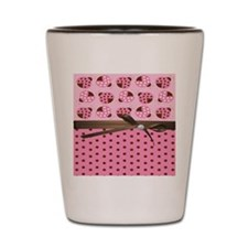 Cute Pink Ladybugs Shot Glass