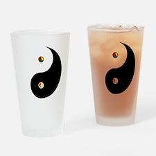 Peaceful Yin  Yang Black-T Drinking Glass