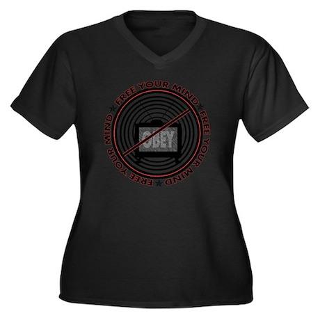 notv_shirt Women's Plus Size Dark V-Neck T-Shirt
