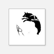 "yin_yang_dogs_dark Square Sticker 3"" x 3"""