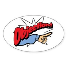 """""""Objection! [Phoenix Wright]"""" Oval Decal"""