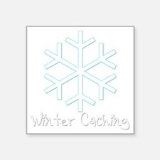 "Winter Caching Square Sticker 3"" x 3"""