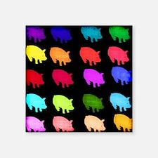 "Rainbow Pigs Square Sticker 3"" x 3"""