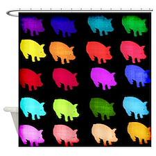 Rainbow Pigs Shower Curtain