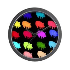 Rainbow Pigs Wall Clock