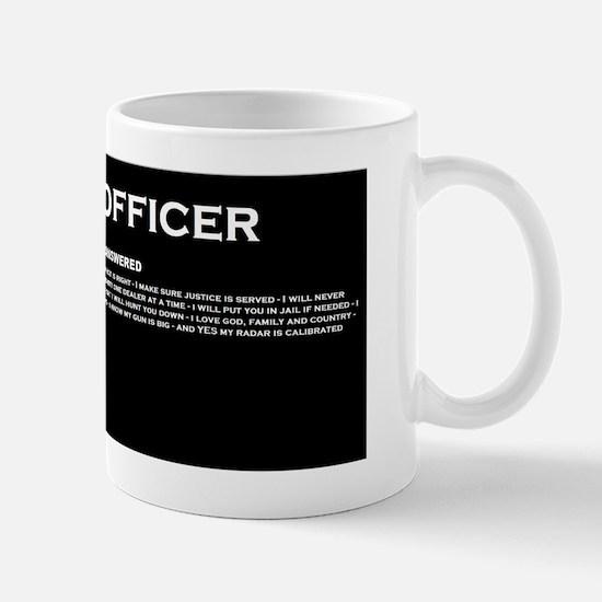 police officer answers Mug