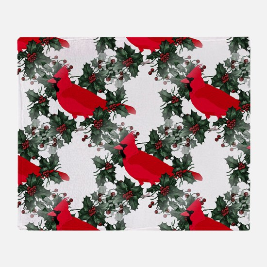 Holly Berries & Red Cardinals Throw Blanket