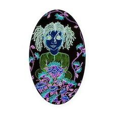 Black flower Child~Copyrite 2010 Oval Car Magnet