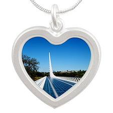 Sundial Bridge Redding, CA Silver Heart Necklace