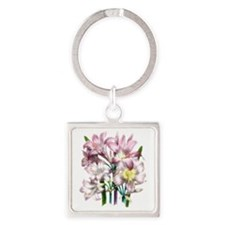 Vintage Pink Lily Square Keychain
