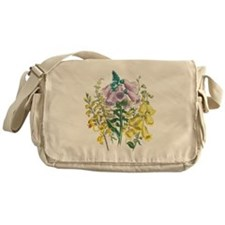 Vintage Foxglove Illustration Messenger Bag