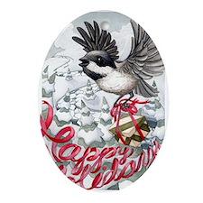 chickadee card Oval Ornament