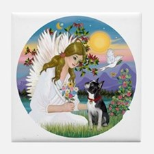 R-Angel Love - Boston Terrier 3 Tile Coaster
