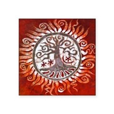 "red tree of life Square Sticker 3"" x 3"""
