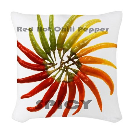 charleston_hot_peppers_white_b Woven Throw Pillow