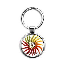 charleston_hot_peppers_white_backgr Round Keychain