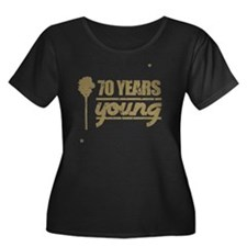 70 Years Women's Plus Size Dark Scoop Neck T-Shirt