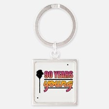 90 Years Young (Birthday) Square Keychain