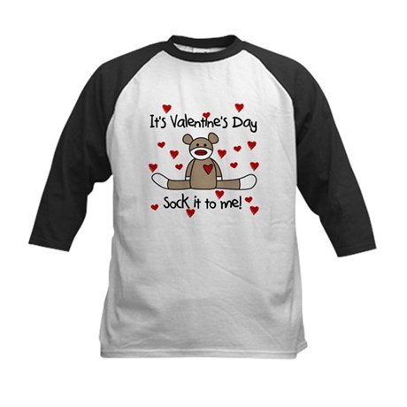 Valentine Sock Monkey Kids Baseball Jersey