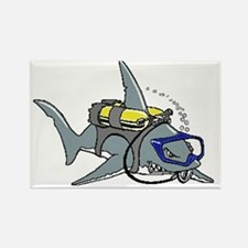Scuba Shark Rectangle Magnet Magnets