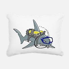 Scuba Shark Rectangular Canvas Pillow