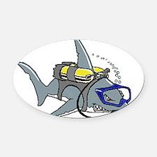 Scuba Shark Oval Car Magnet